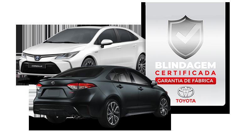 Banner contato, dois carros corola e o certificado de blindador oficial Toyota.